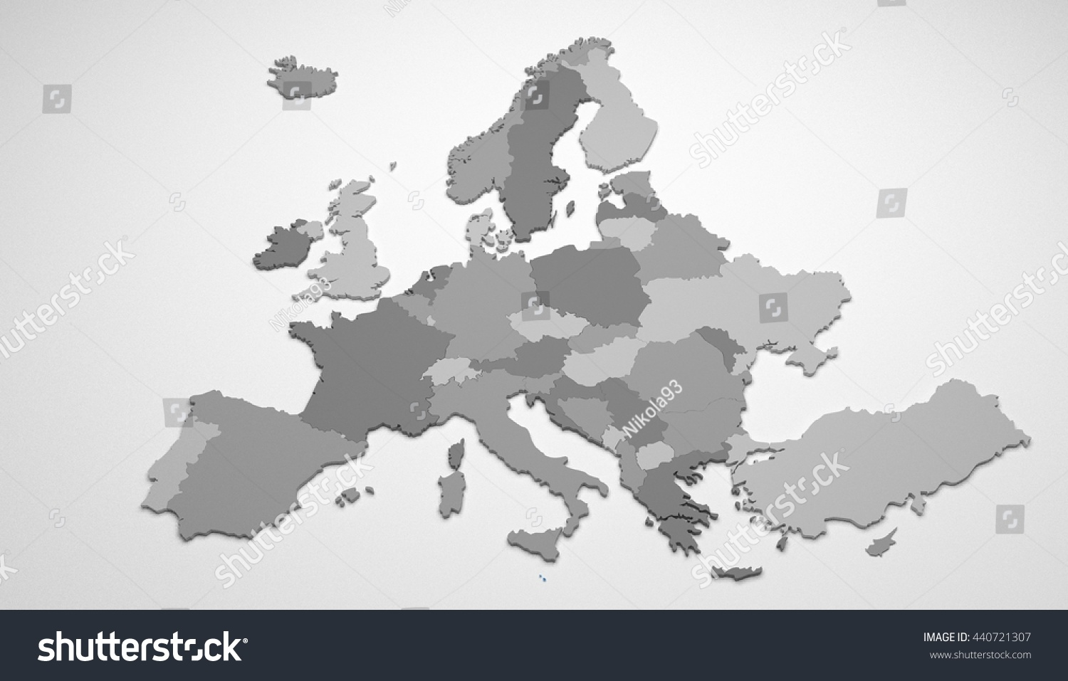 3d Map Europe All Countries With Stock Illustration 440721307