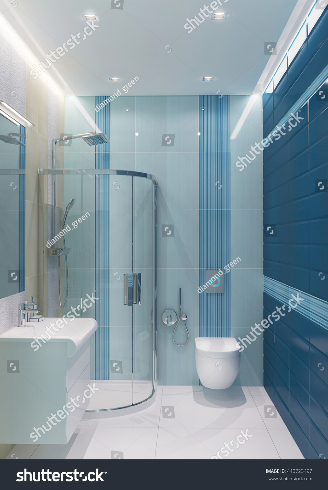 3d Illustration Blue Shower Room Shower Stock Illustration 440723497 ...