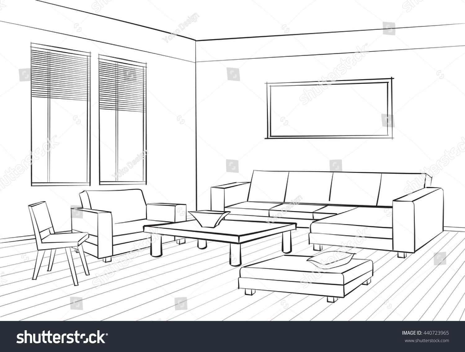 Home interior furniture sofa armchair table stock vector for Drawing room bed design