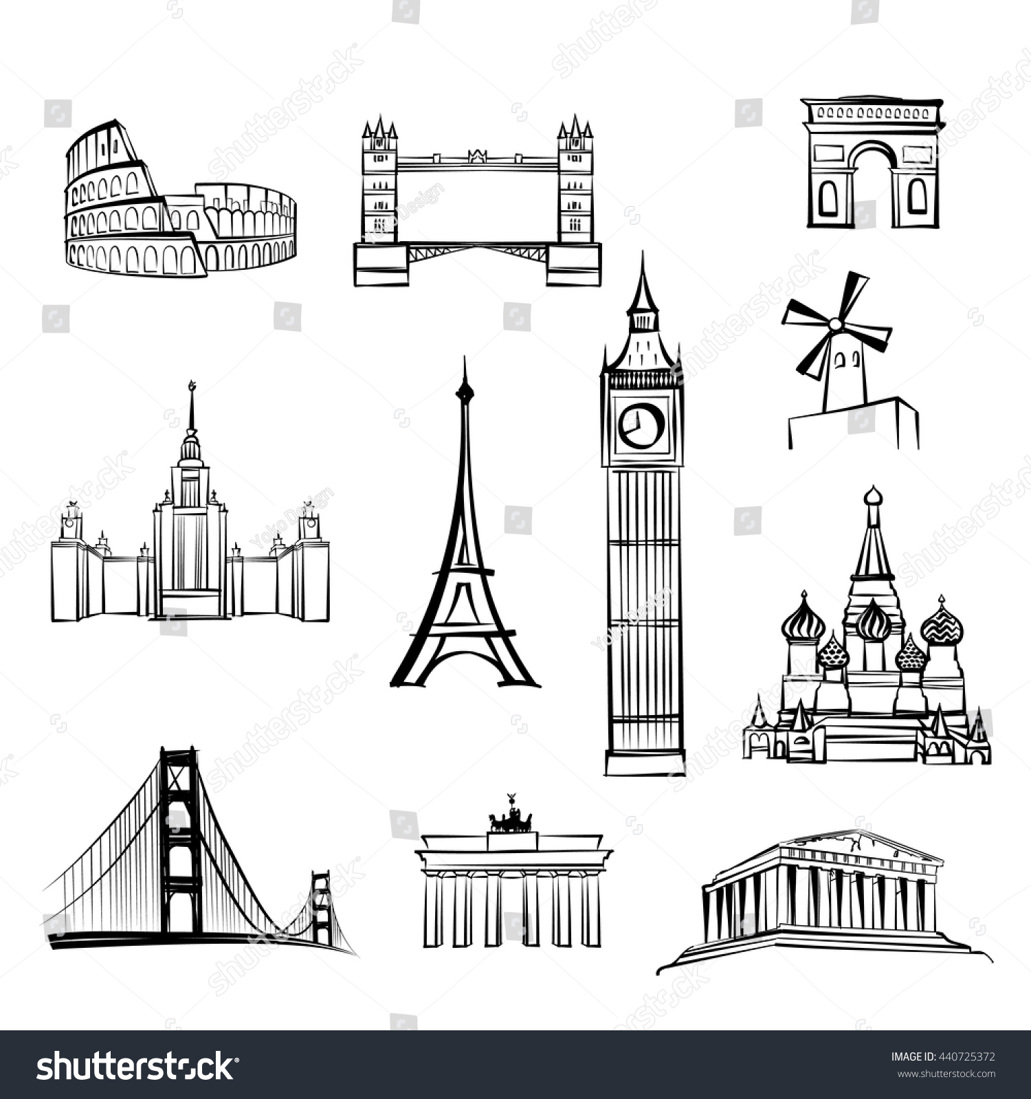World tourist attractions symbols world famous stock - San francisco tourist information office ...