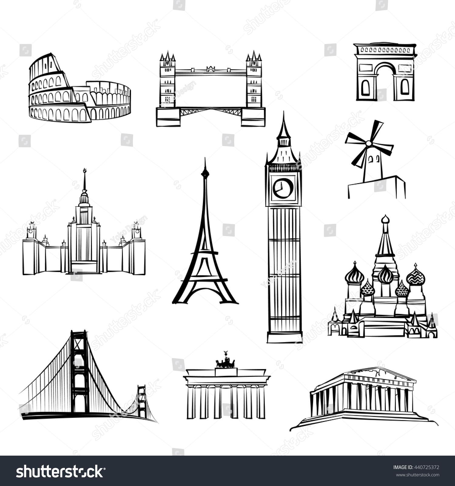 World tourist attractions symbols world famous stock - San francisco tourist information office ...