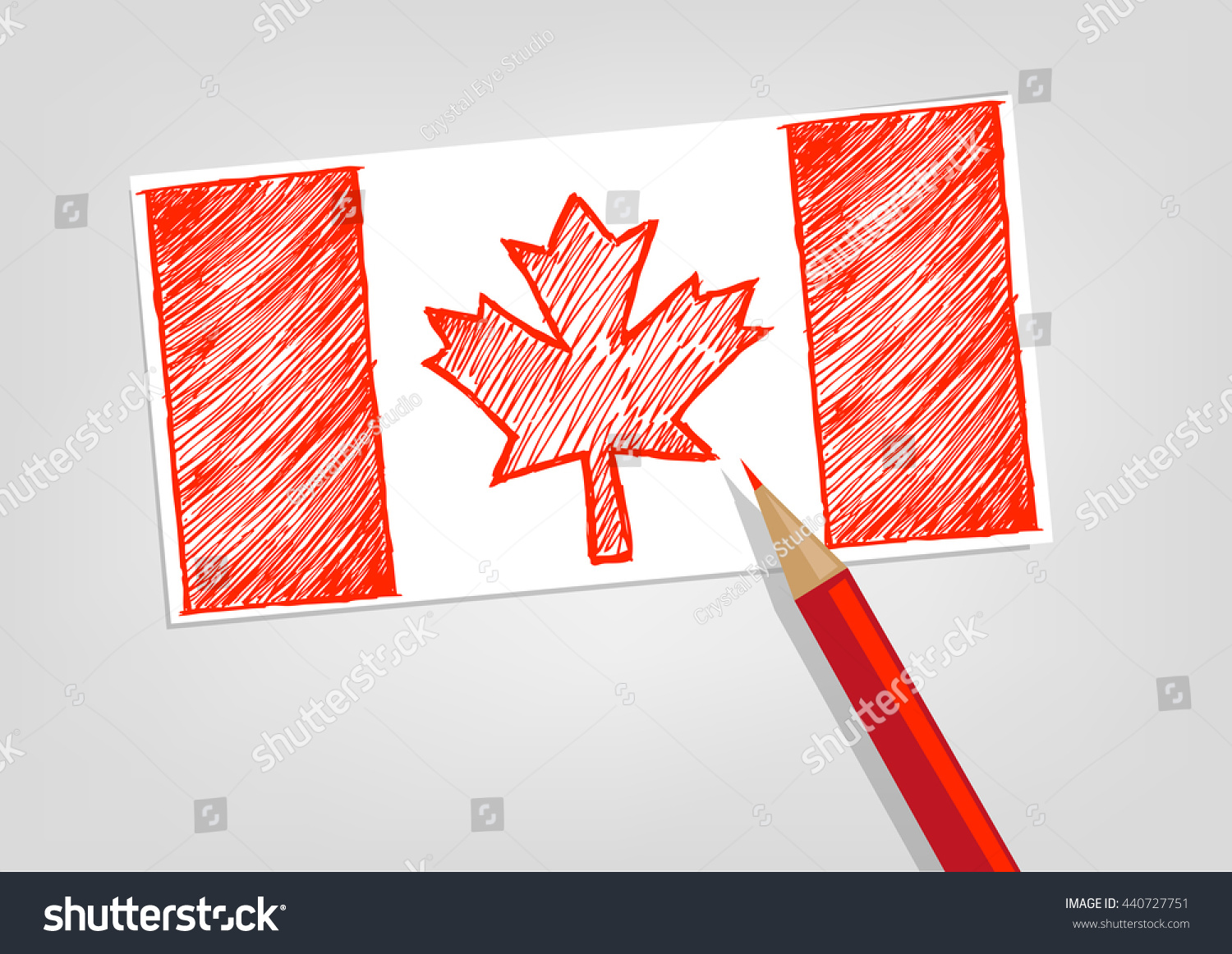 canada flag sketch style red pencil stock vector 440727751
