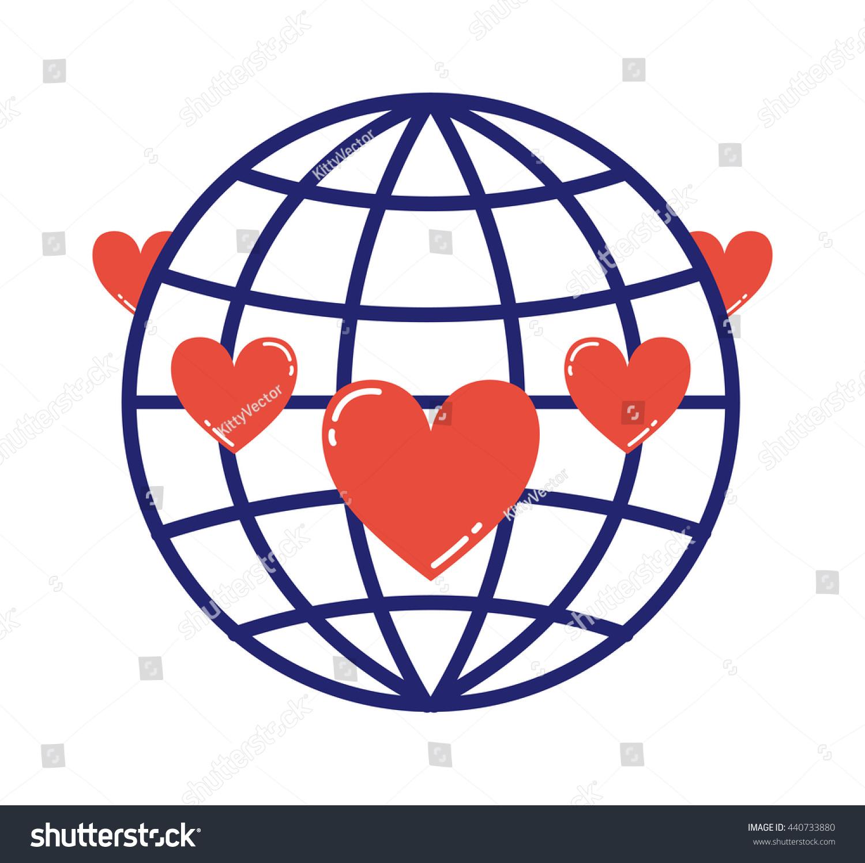 Lovely globe love logo earth planet stock vector 440733880 lovely globe love logo earth planet eco symbol with hearts buycottarizona Choice Image