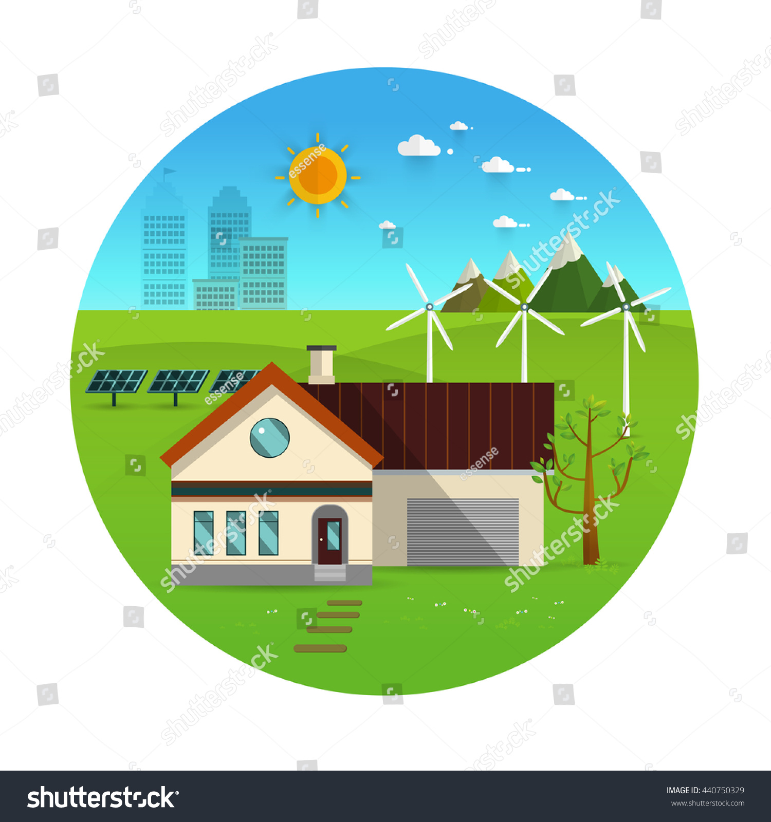 Environmental Concept Earthfriendly Landscapes: Eco Friendly House Solar Energy Wind Stock Vector