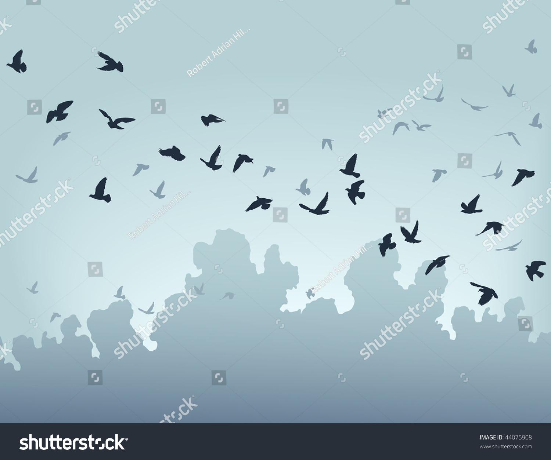 Stock Vector Vector Illustration Of A Flock Of Flying Birds