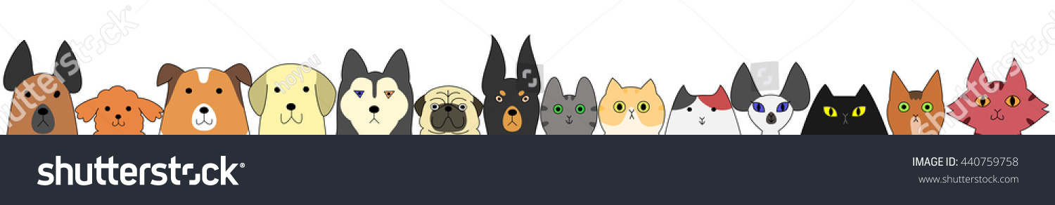 Dogs Cats Banner Stock Vector Royalty Free 440759758
