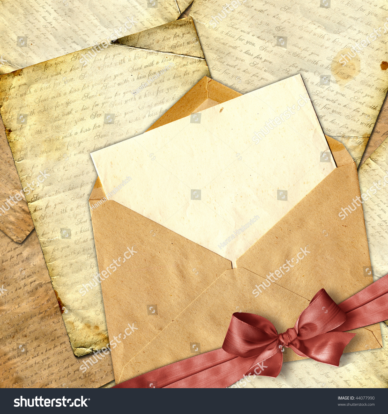 love letter with flower on paper background  stock photo