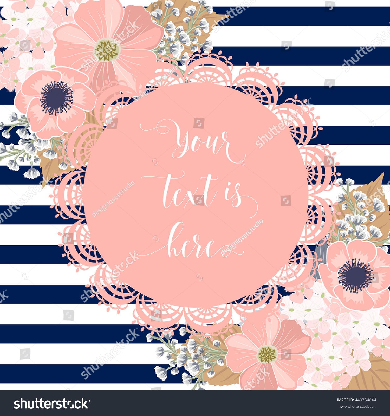 Navy Blue Peach Wedding Flower Stock Vector (Royalty Free) 440784844 ...