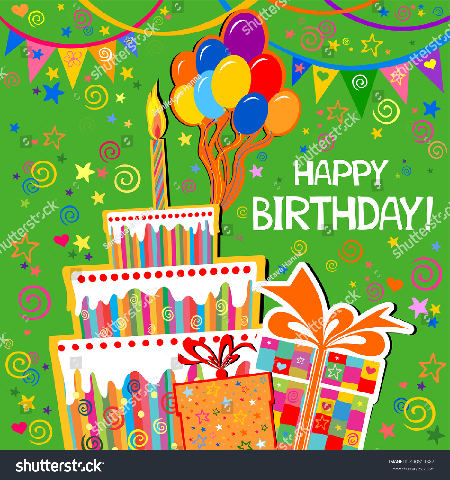 Birthday Card Celebration Green Background Gift Vector – Green Birthday Card