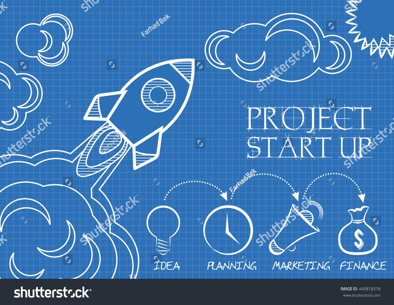 Blueprint space rocket launch start concept stock vector royalty blueprint of space rocket launch start up concept flat design style vector illustration malvernweather Images