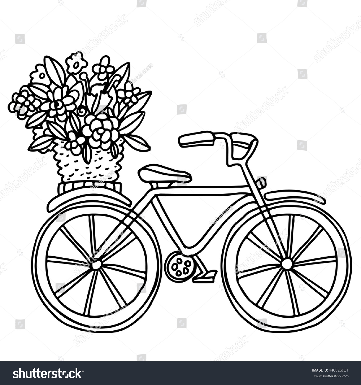 Flower Basket Line Drawing : Bike flowers basket hand drawn black stock vector