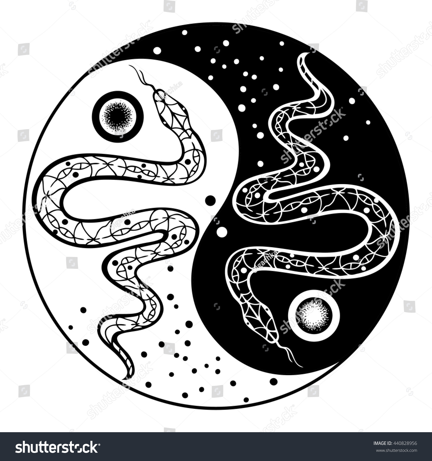Yin yang decorative symbol snakes hand stock vector for Architecture yin yang