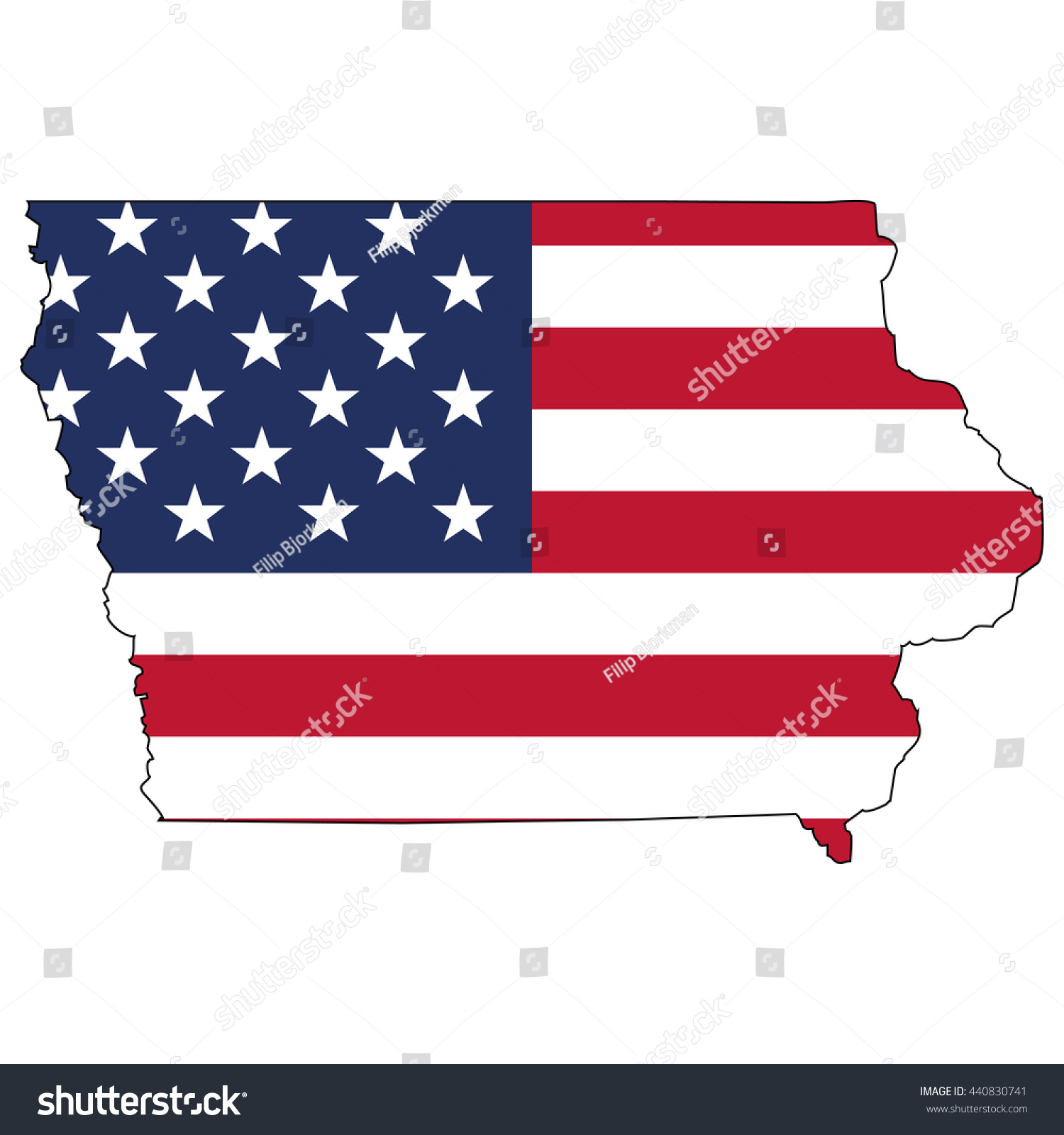 Vector Map Us Flag Inside Iowa Stock Vector  Shutterstock - Us map states iowa