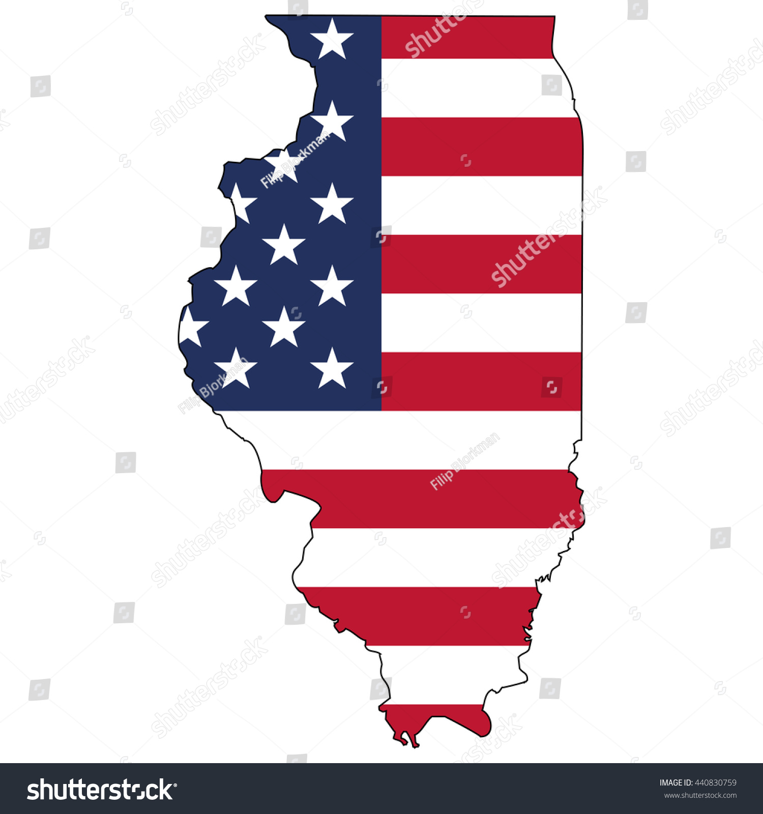 Vector Map Us Flag Inside Illinois Stock Vector - Us flag map