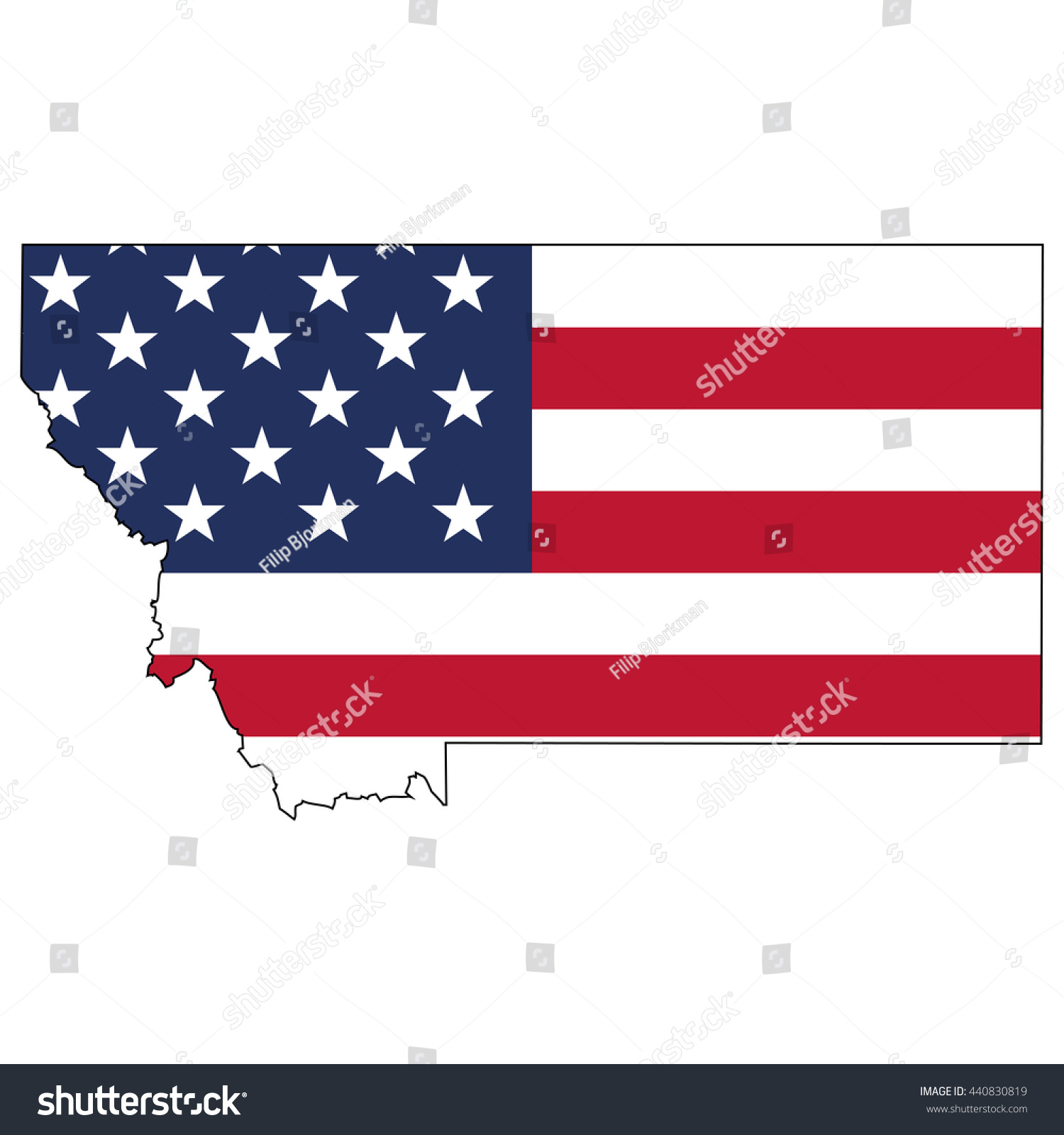 Vector Map Us Flag Inside Montana Stock Vector - Montana on us map
