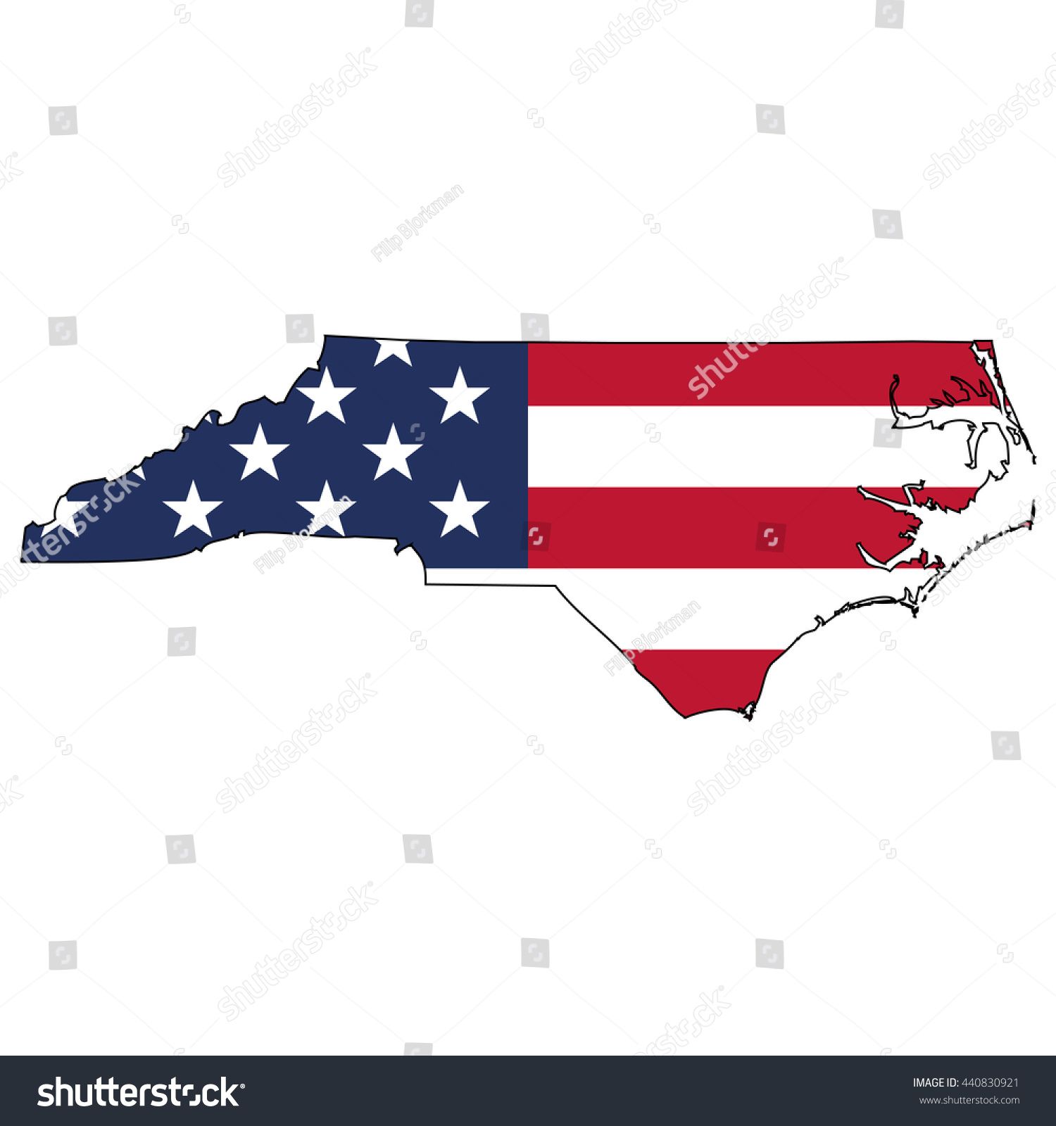 Vector Map Us Flag Inside North Stock Vector Shutterstock - Where is nc on the us map