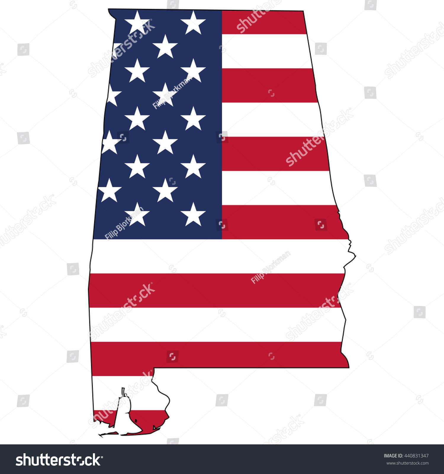 Vector Map Us Flag Inside Alabama Stock Vector 440831347