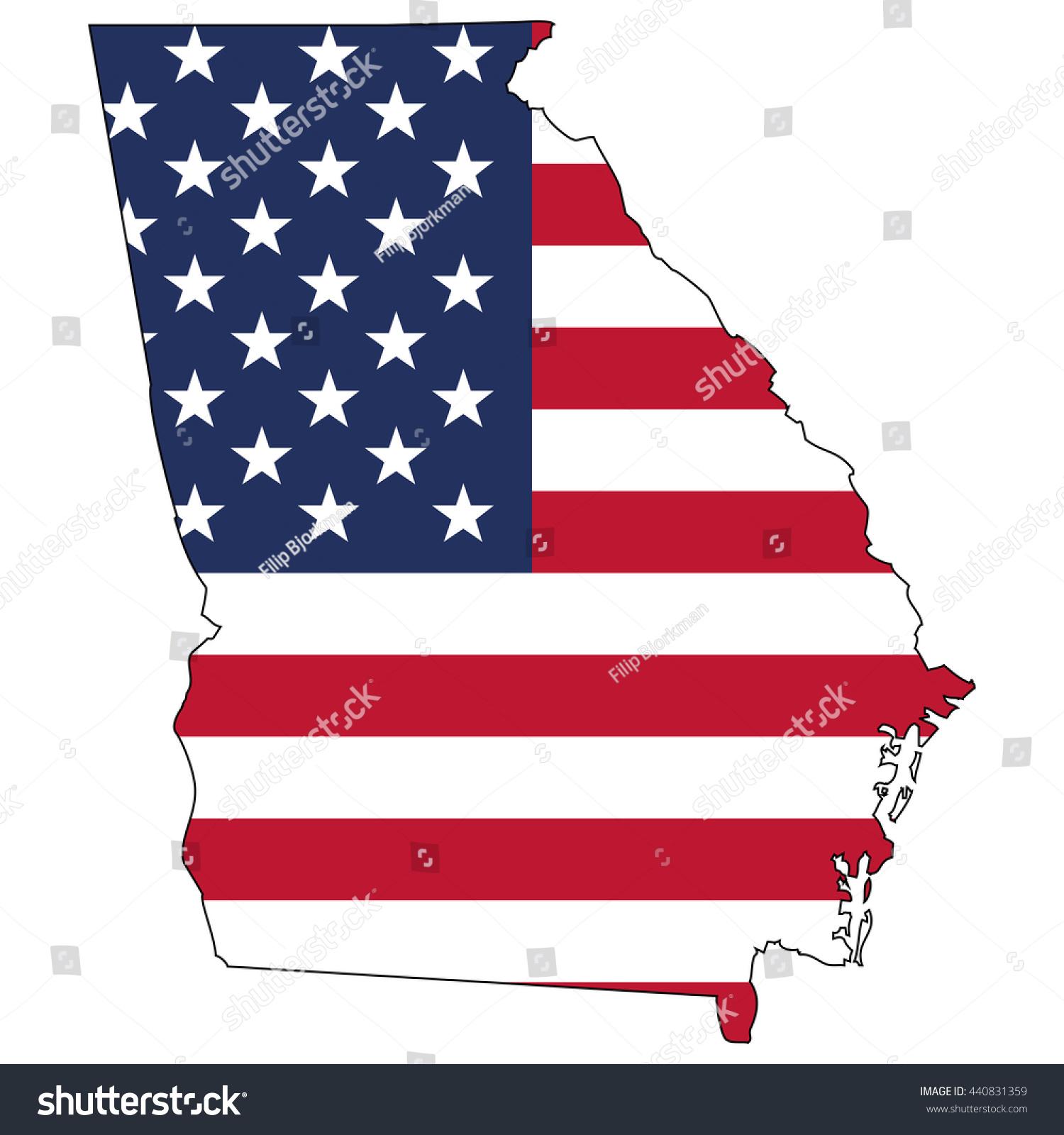 Vector Map Us Flag Inside Georgia Stock Vector - Map us georgia