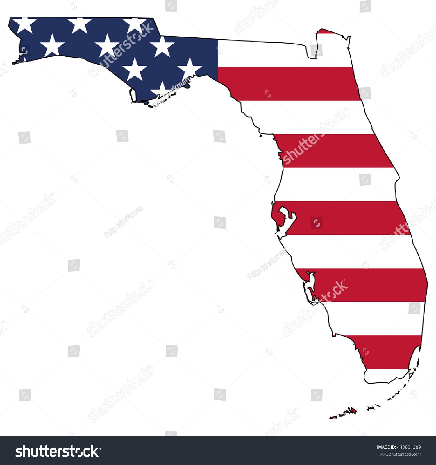 Vector Map Us Flag Inside Florida Stock Vector 440831389
