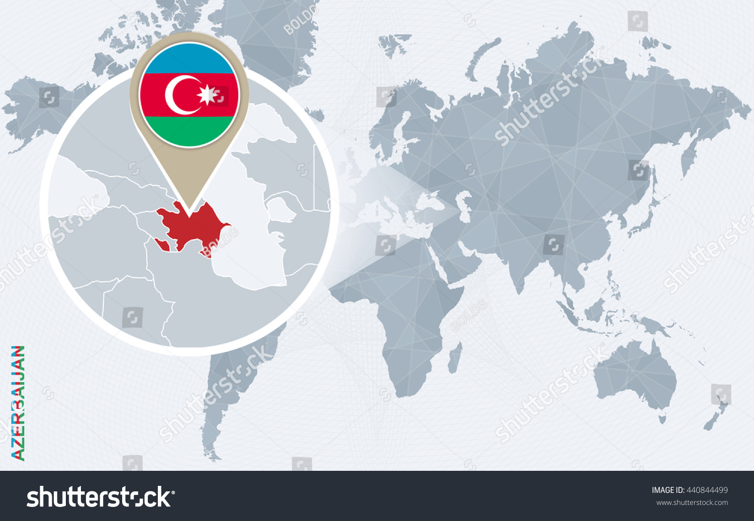 Abstract Blue World Map Magnified Azerbaijan Stock Vector 440844499