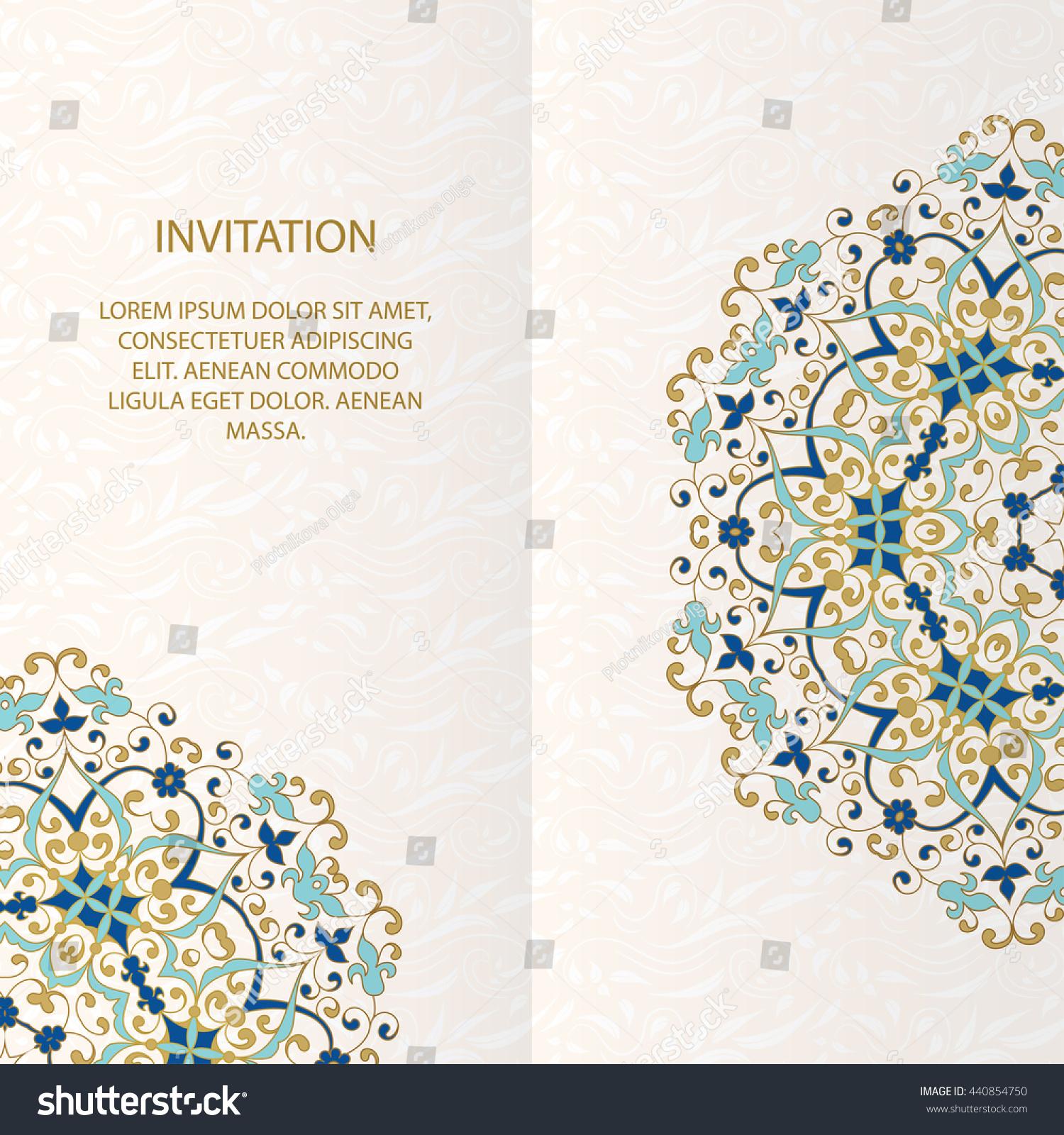 islamic brochure design - vintage islamic style brochurevector decorative frame