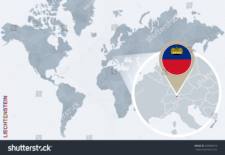 Abstract Blue World Map Magnified Liechtenstein Stock Vector
