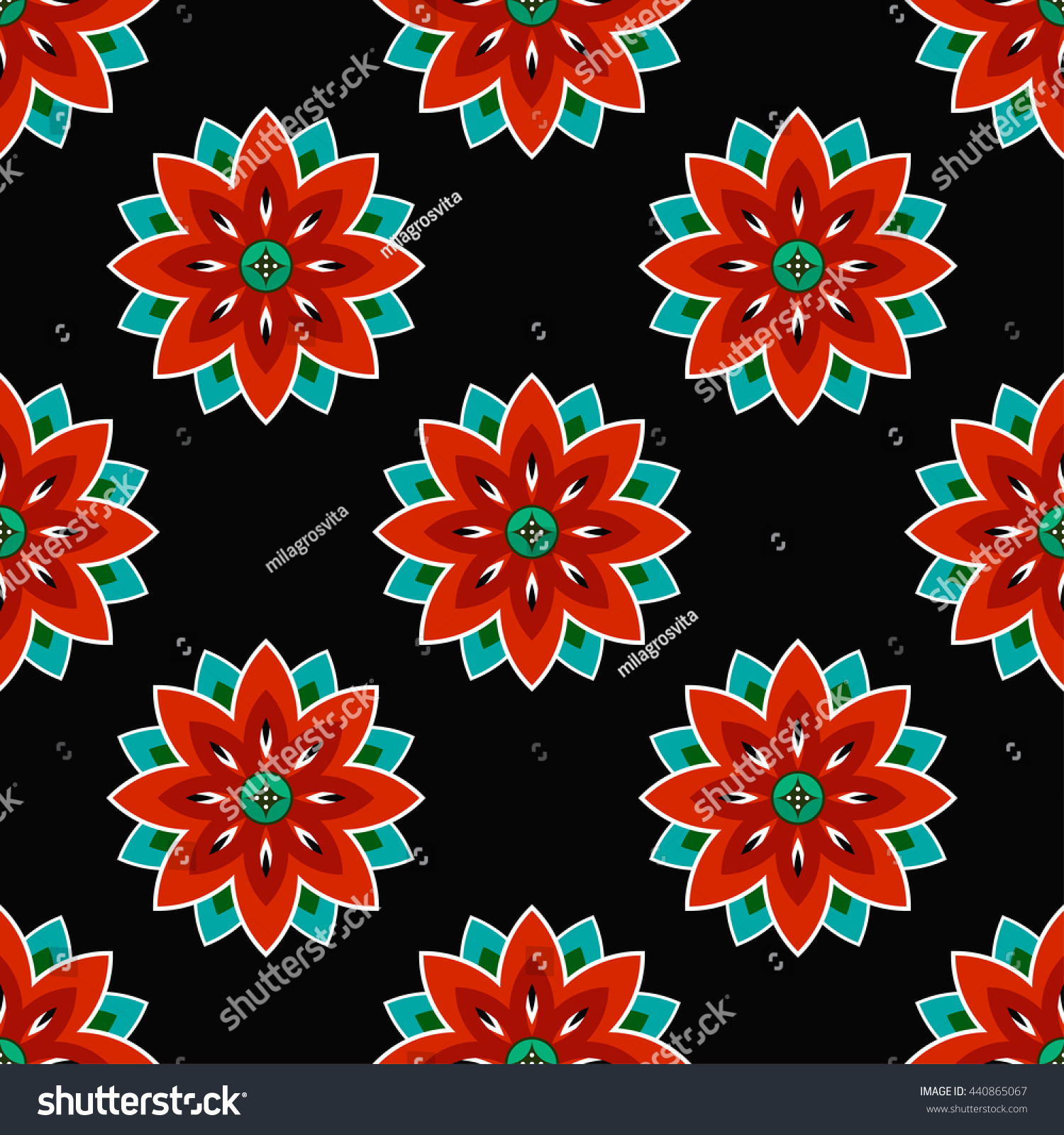 Seamless Lotus Flower Pattern Buddhist Temple Stock Vector 440865067 ...