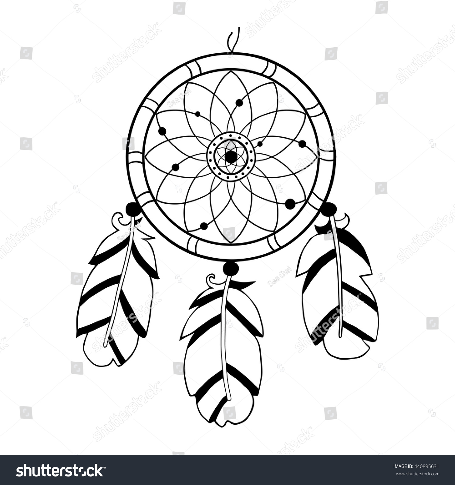 dreamcatcher hand drawn vector illustration native stock vector