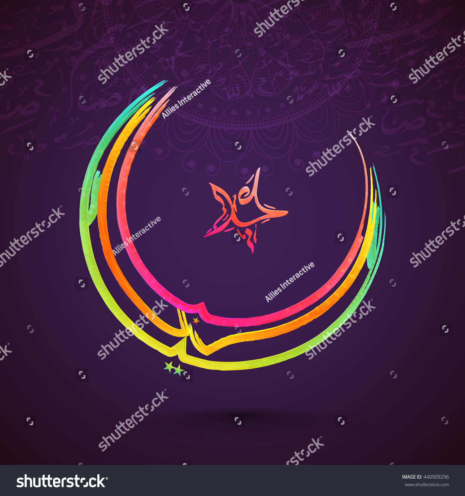 Colourful arabic islamic calligraphy text eid stock vector 440909296 colourful arabic islamic calligraphy of text eid mubarak in crescent moon and star shape on floral biocorpaavc Gallery
