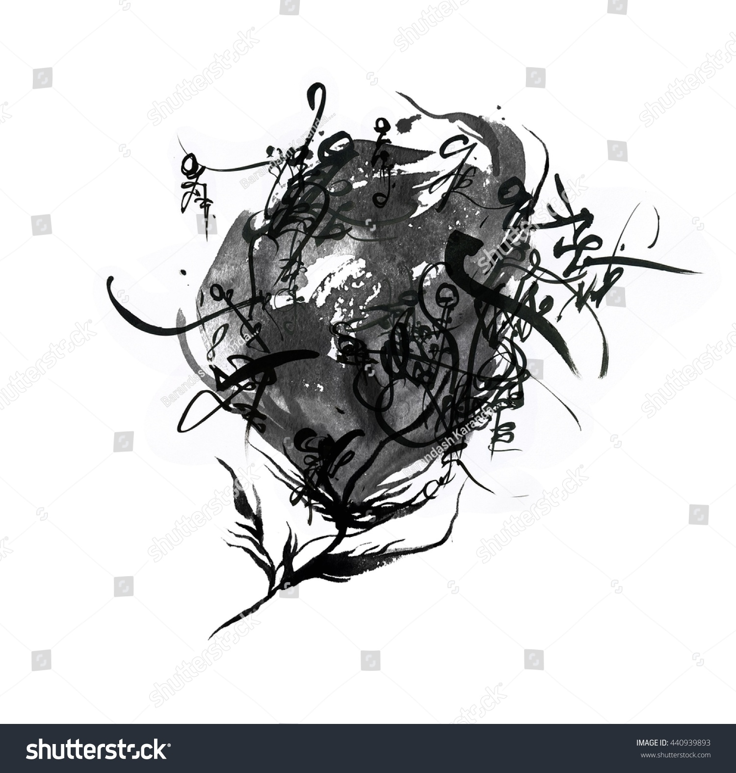Abstract Flowers Made Ink Mystical Calligraphy Stock