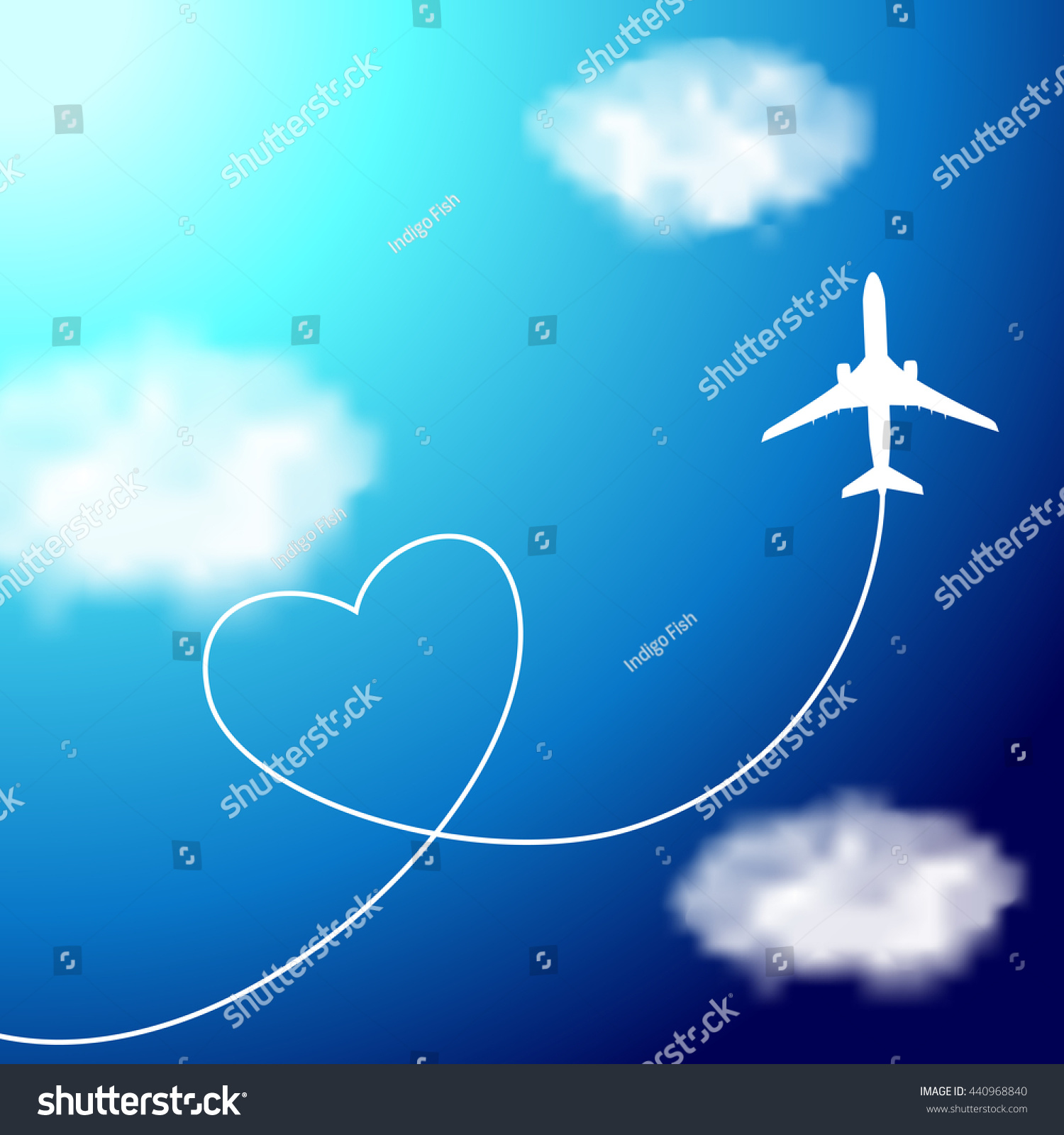 plane clouds heartshaped smoke trail on stock vector 440968840