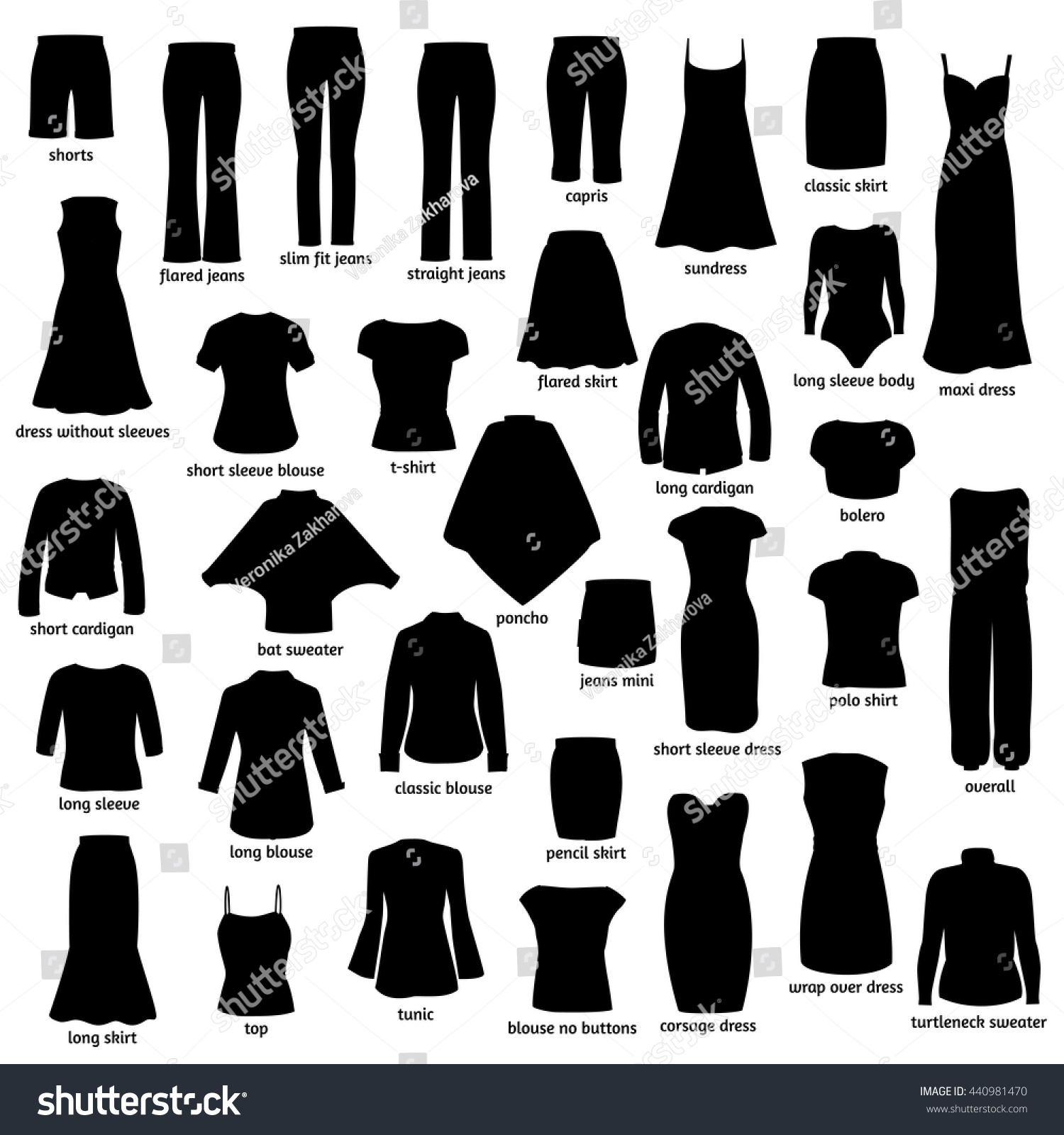 Women Clothes Names Silhouettes Icons Clothing Stock