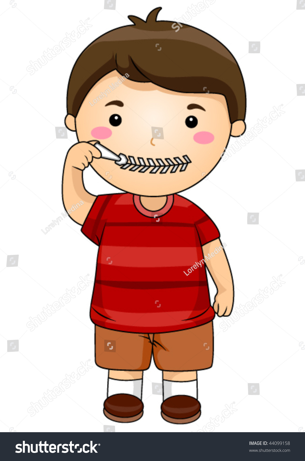 Stock Vector Kid Zipping Mouth Vector on Zipped Mouth Cartoon