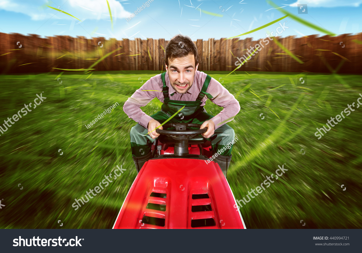 Man On Tractor Lawn Enforcment : Man on a lawn tractor stock photo shutterstock