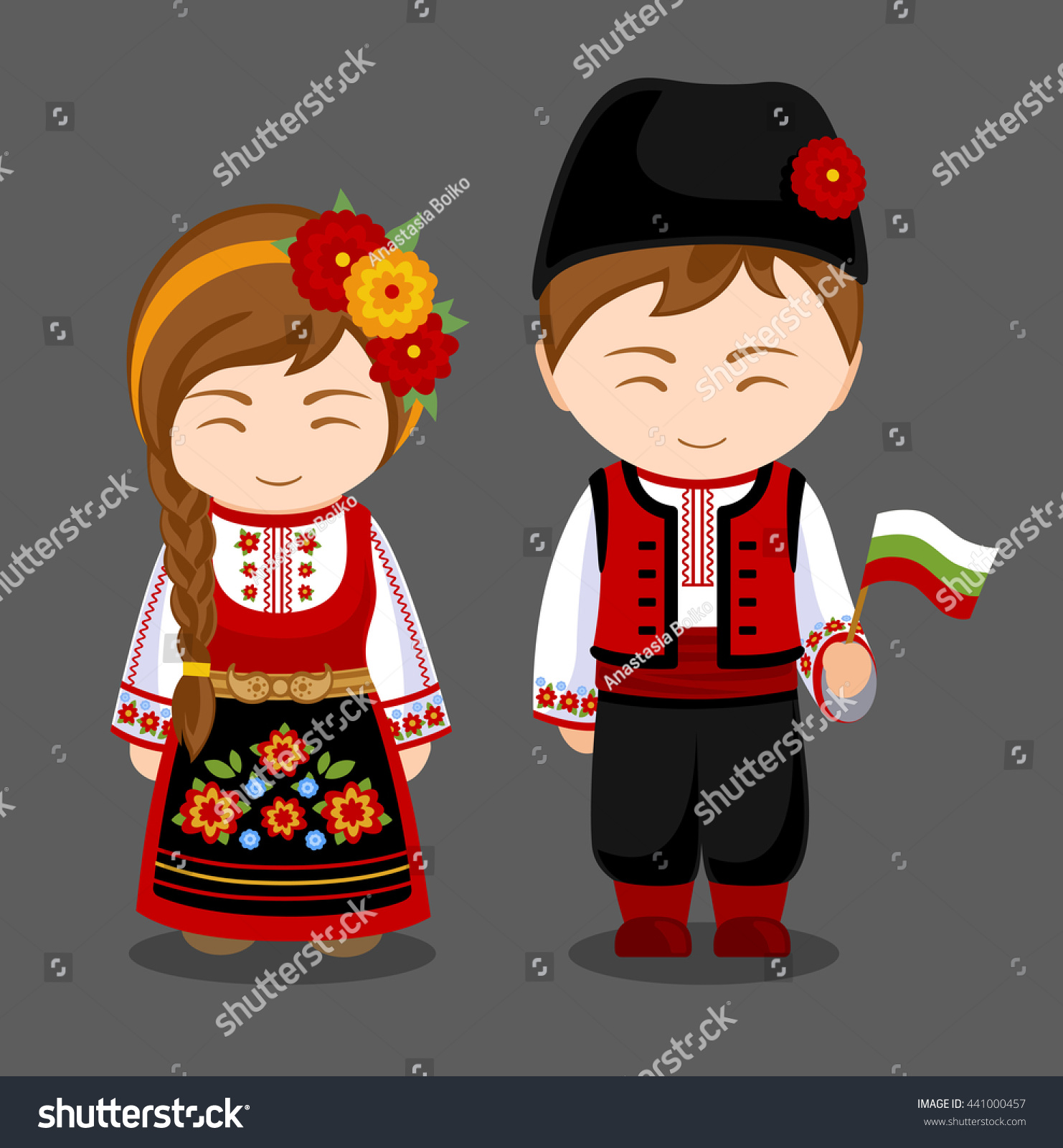 Welcome World League Of Beauty And Fashion Official Web: Bulgarians National Dress Flag Man Woman Stock Vector