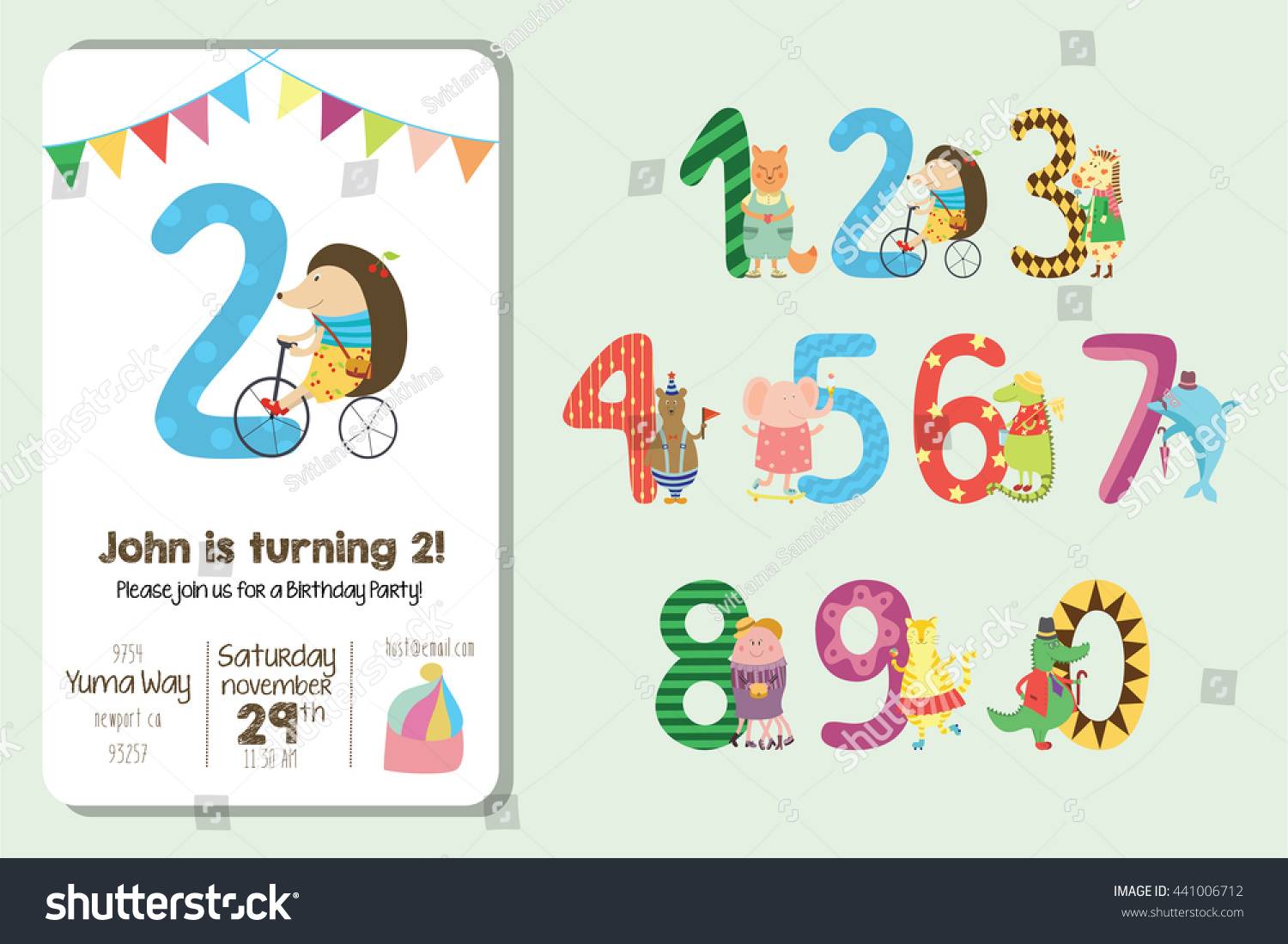 Birthday Invitation Collection Cute Animals Numbers Stock Vector HD ...