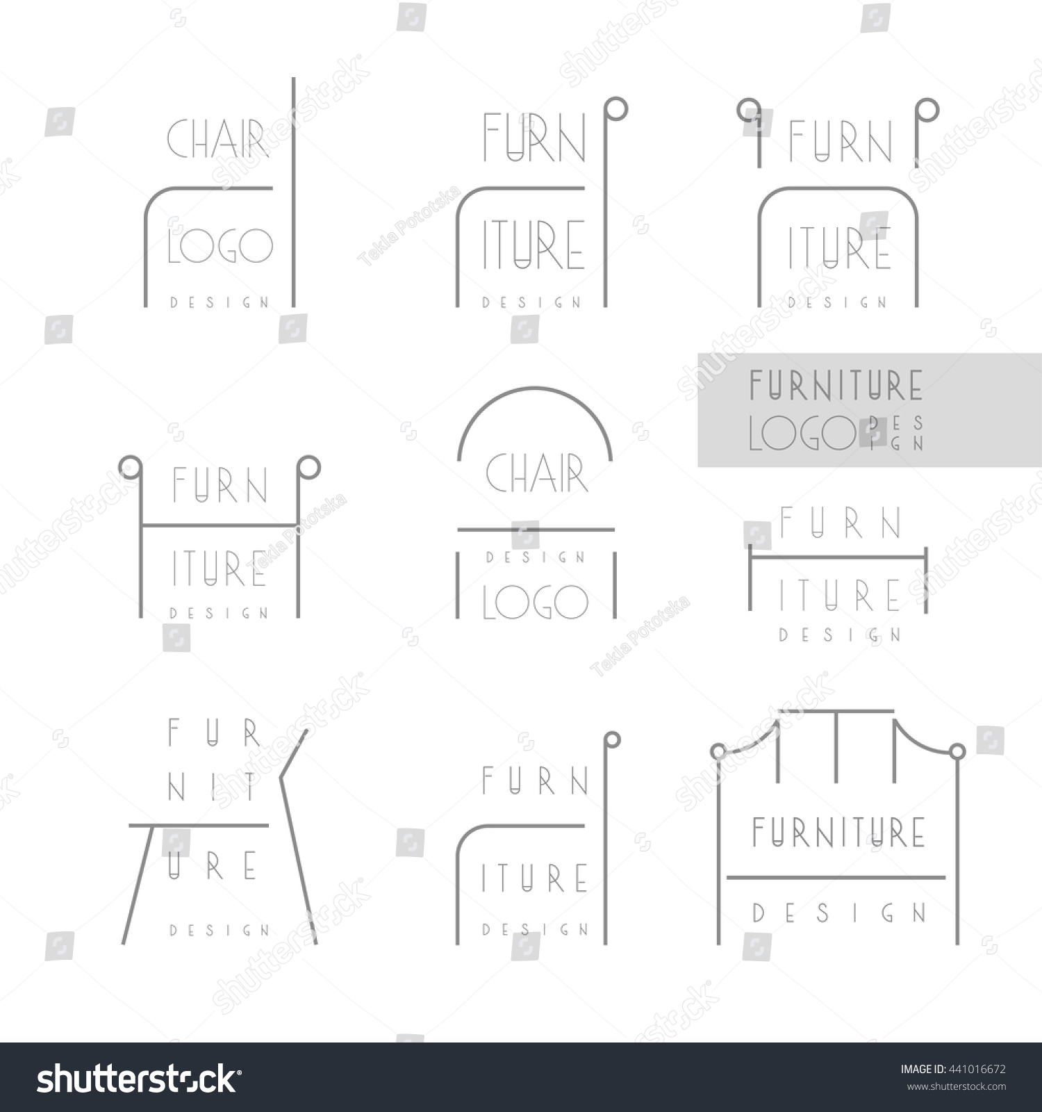 Interior Designer Brand Identity Furniture Design Stock Vector 441016672 Shutterstock