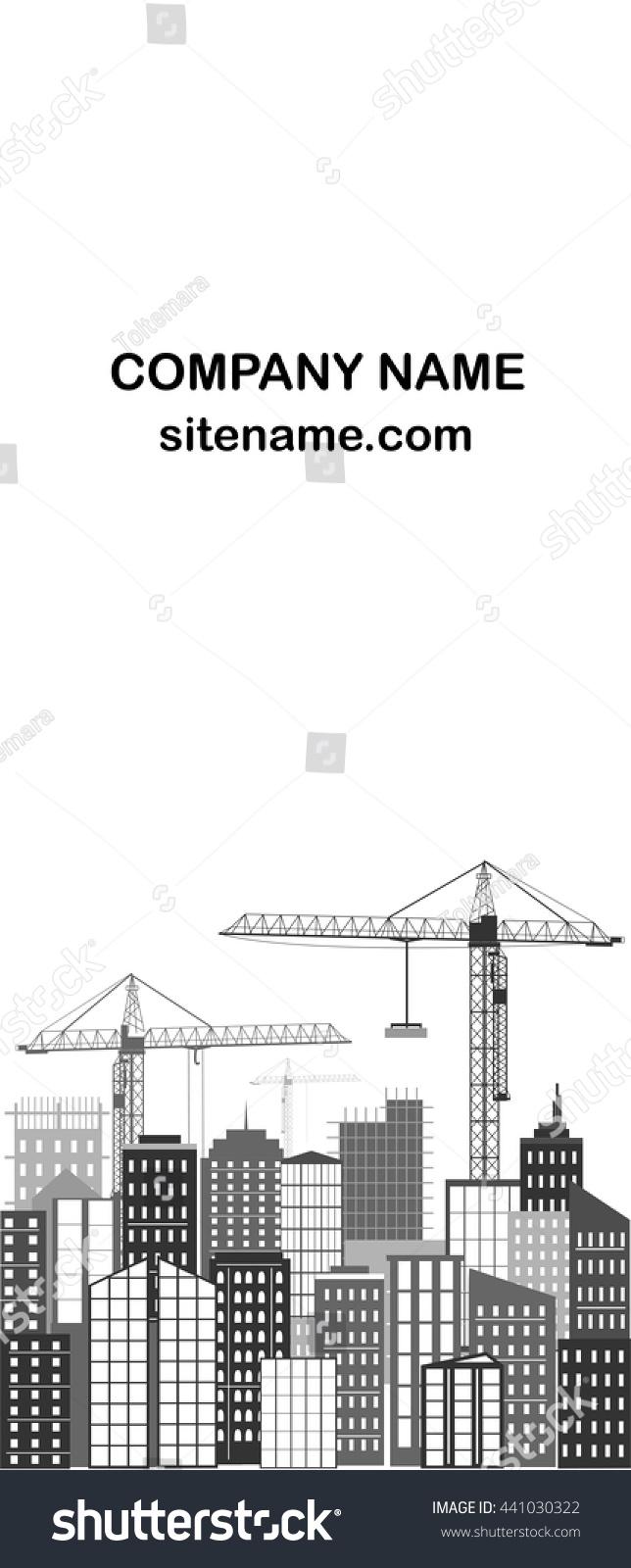 Urban Business Card City Silhouette Grey Stock Vector 441030322 ...