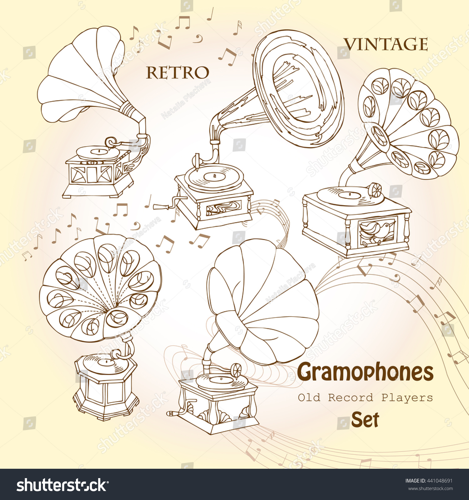 Hand drawn sketches old record player music illustration