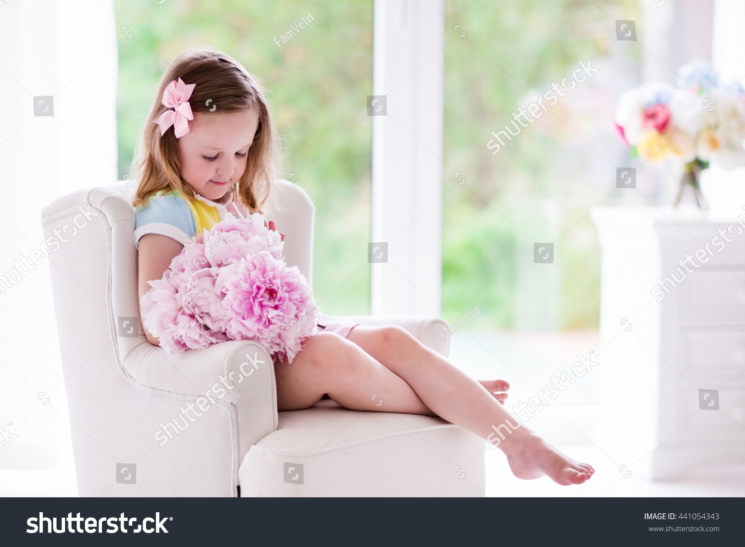 Little Girl Smelling Peony Flower Bouquet Stock Photo Edit Now