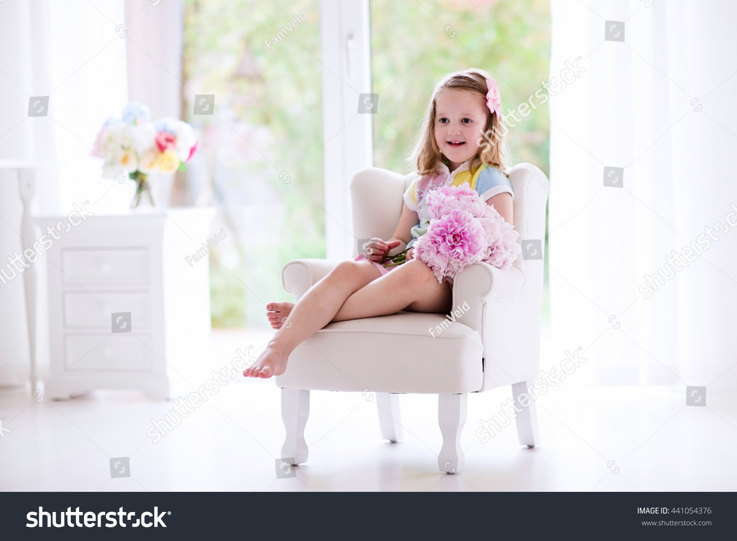 Little Girl Smelling Peony Flower Bouquet Stock Photo (Edit Now ...