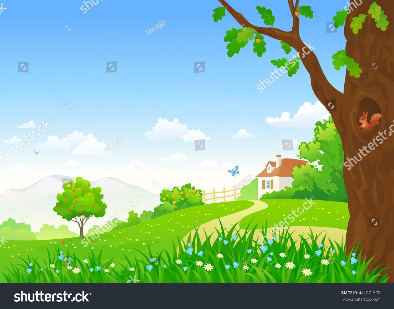 vector cartoon illustration beautiful summer country stock vector