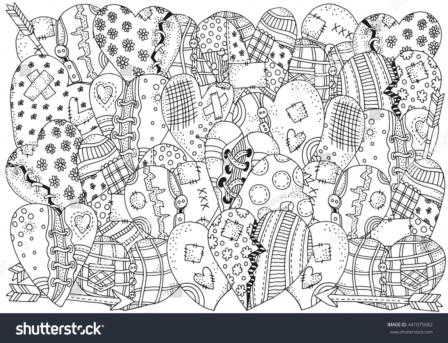 Raster copy pattern coloring book hand stock illustration Coloring book background