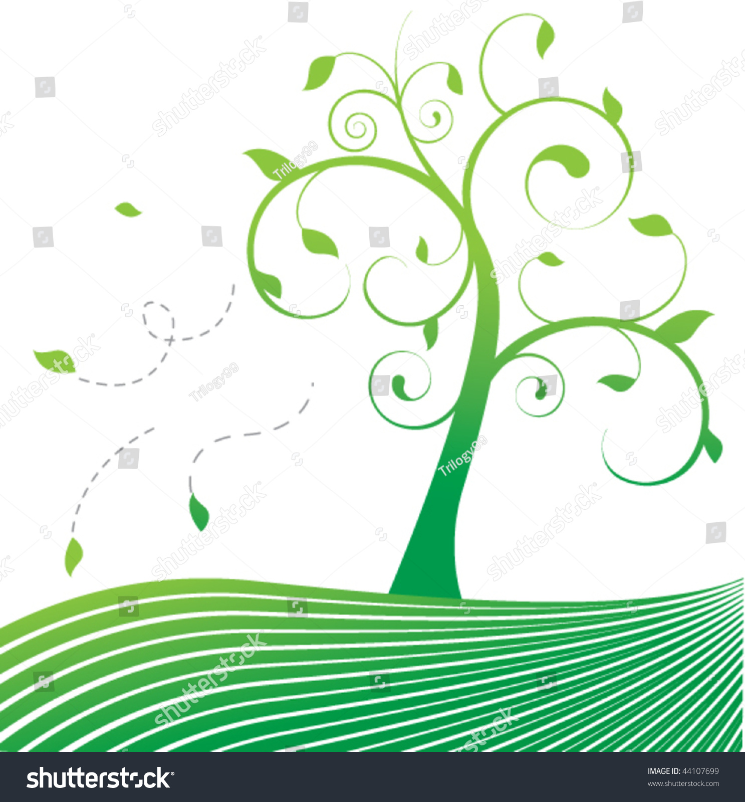 Stylized Tree Leaves Blowing Wind Stock Vector 44107699 ...