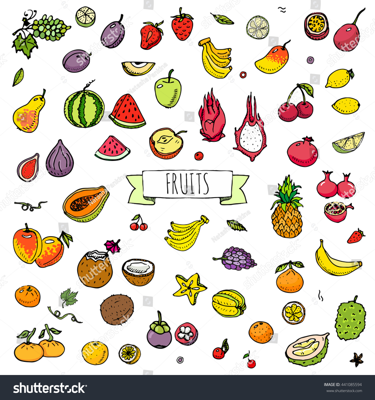 Hand drawn doodle tropical fruits icons set Vector illustration seasonal berry symbols collection Cartoon different kinds of sweet vegan food Isolated on white background Sketch style