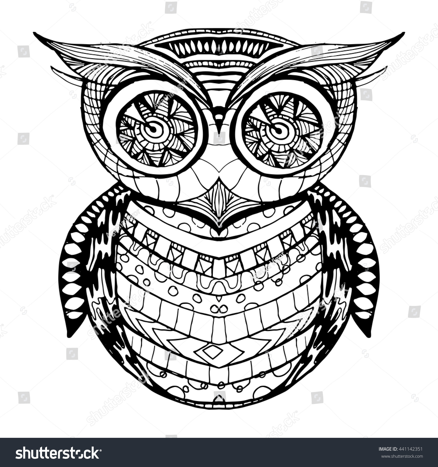 decorative ornamental owl zendoodle design element stock vector