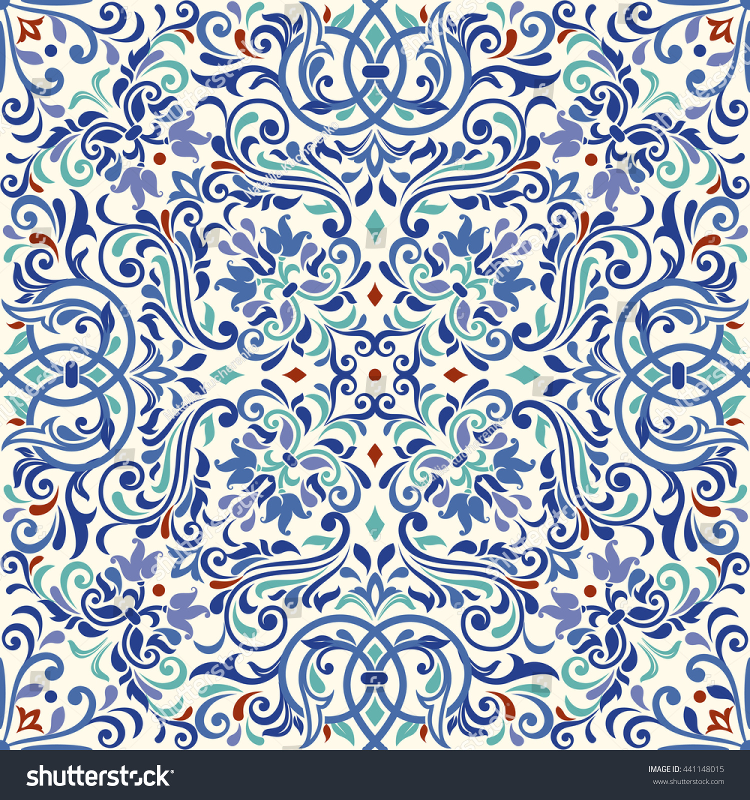 Turkish Design Wallpaper : Seamless turkish colorful pattern endless stock