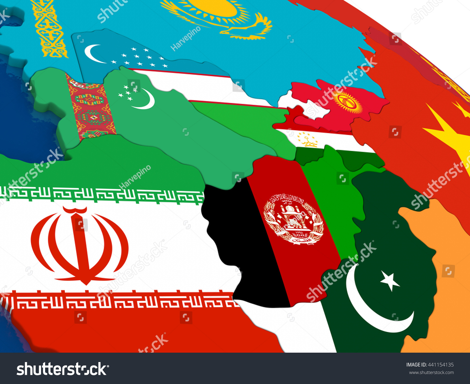 Map Central Asia Embedded Flags On Stock Illustration - Central asia political map