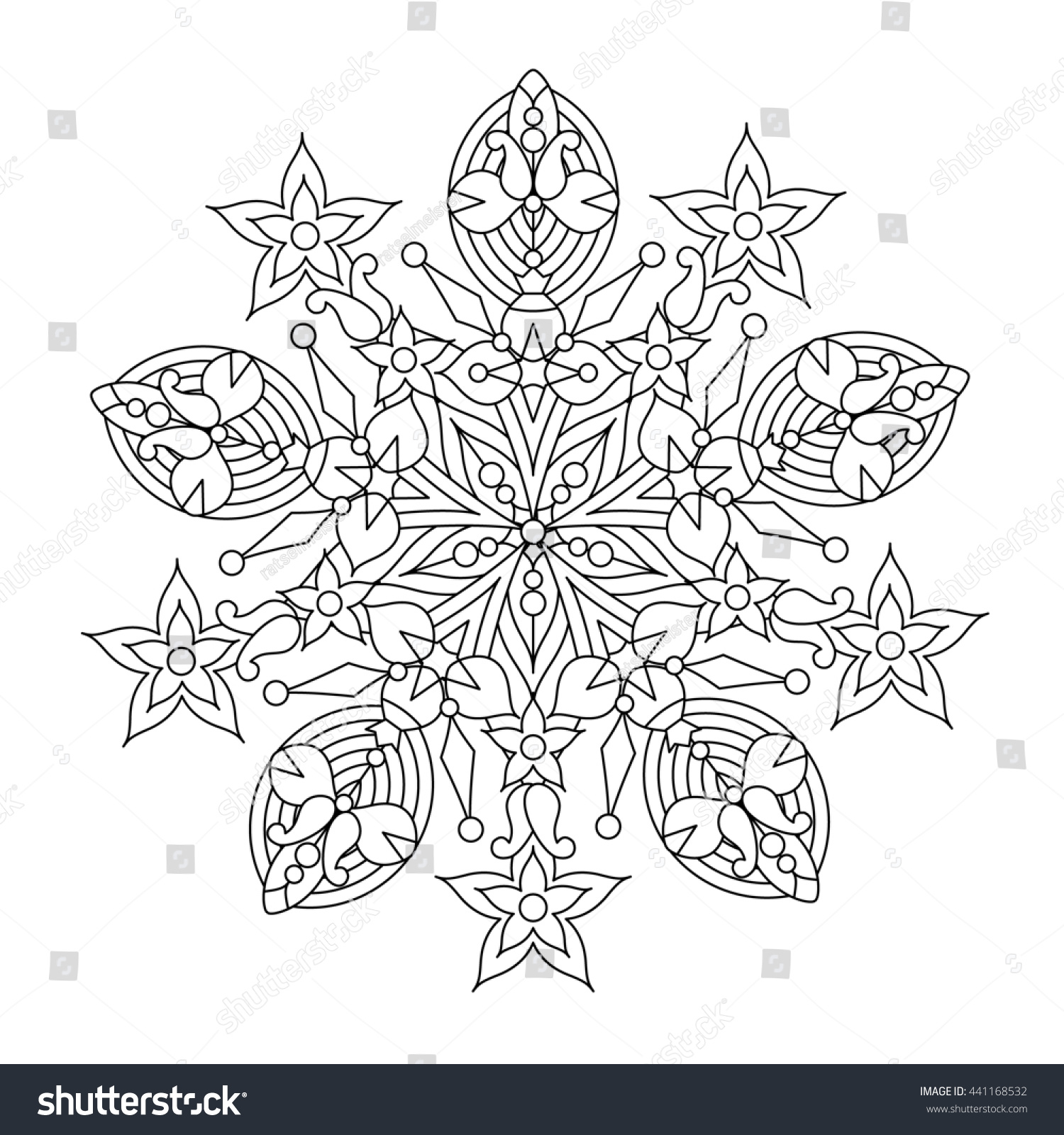 Coloring book snowflake - Abstract Mandala Or Whimsical Snowflake Line Art Design Or Coloring Page