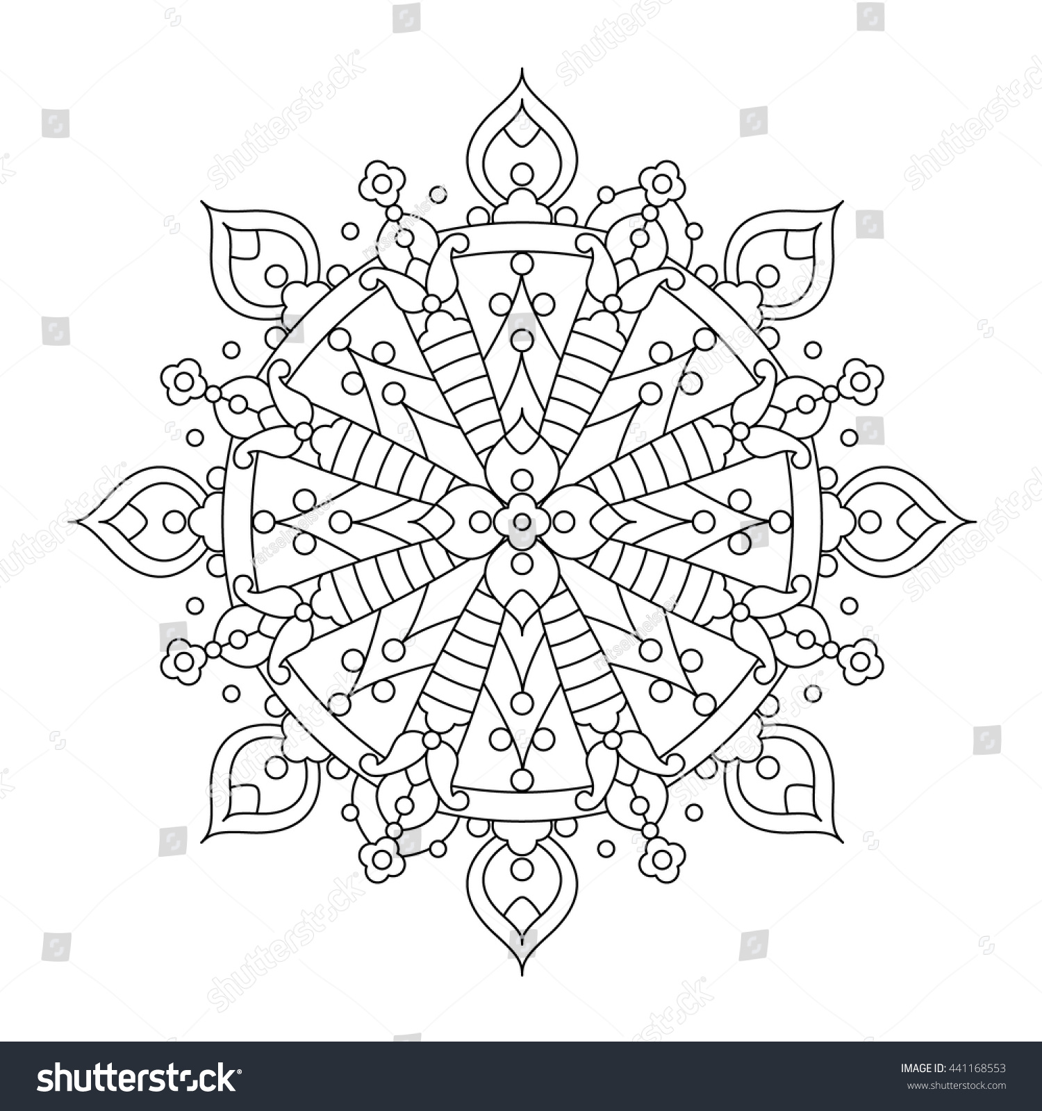 Whimsical designs coloring book - Abstract Mandala Or Whimsical Snowflake Line Art Design Or Coloring Page